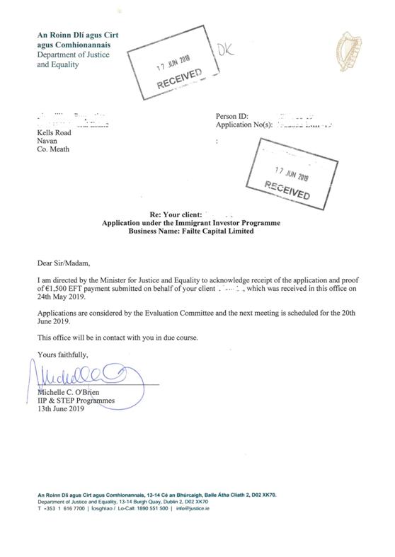 捷报!恭祝北京L女士爱尔兰投资移民申请被顺利接收!