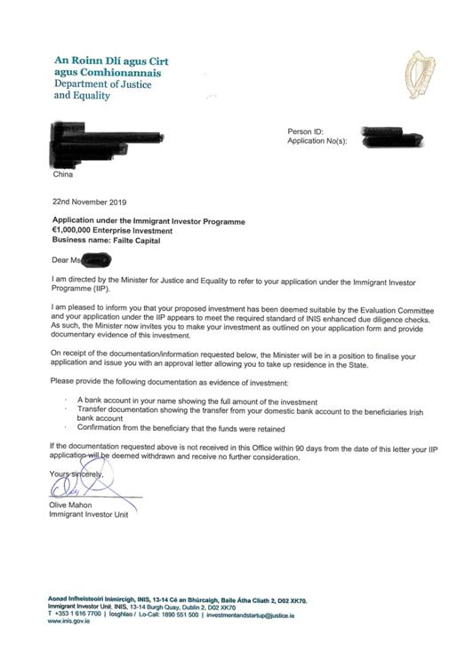 源盛喜讯:爱尔兰投资移民3位客户同时获批,从递交申请到获批最快仅6个月!