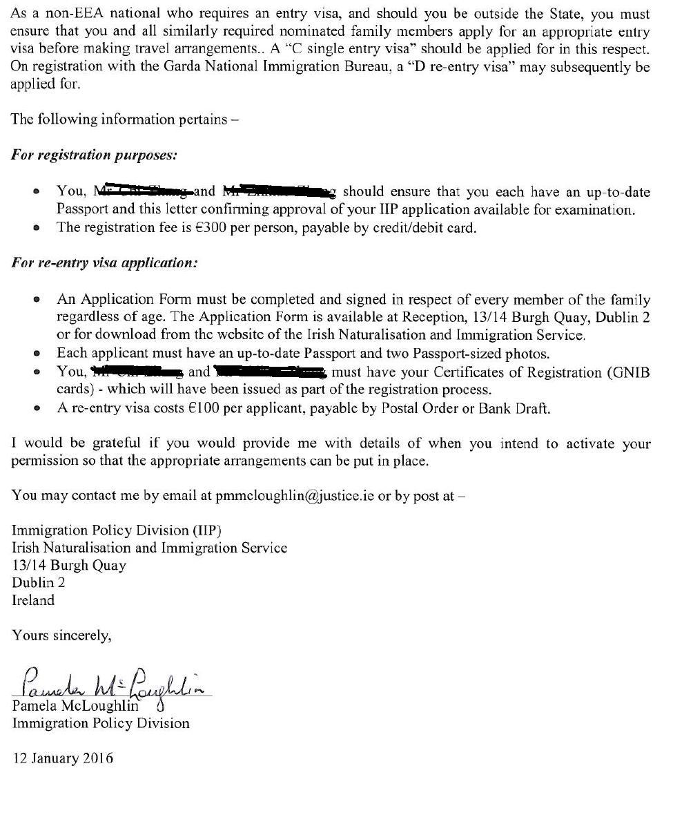 捷报!恭祝源盛国际客户上海Q女士喜获爱尔兰50万欧元投资移民原则批准信!