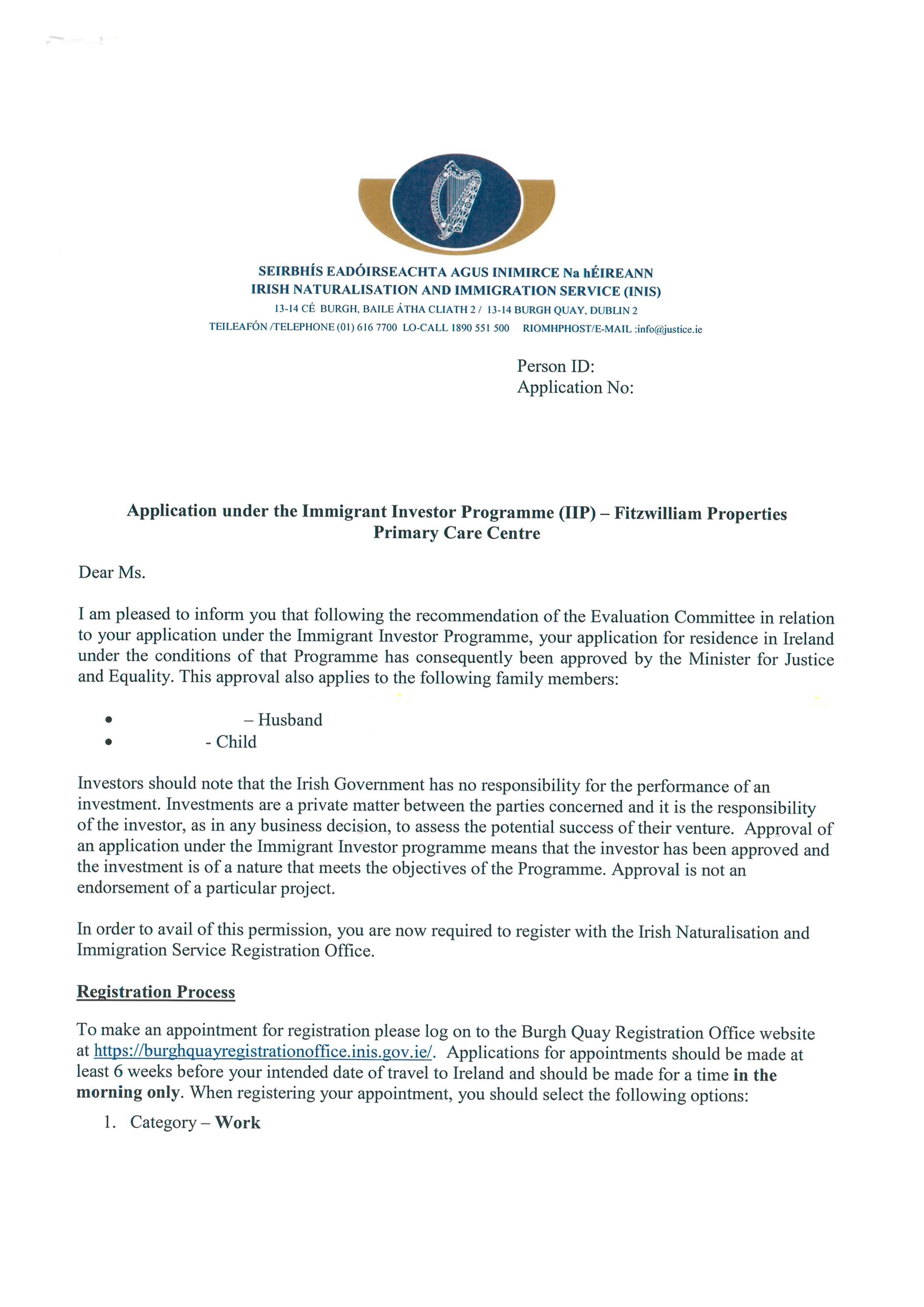 捷报!恭喜源盛客户Q女士喜获投资爱尔兰投资移民批准信!